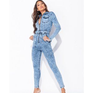 Pants - Acid Wash Denim Jeans Long Sleeve Bodycon Jumpsuit